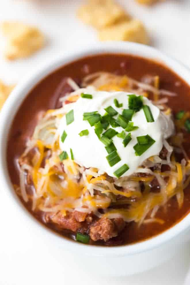 A large bowl of turkey chili