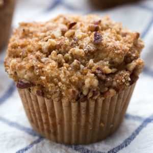 one large coffee cake muffin sitting on a blue check napkin