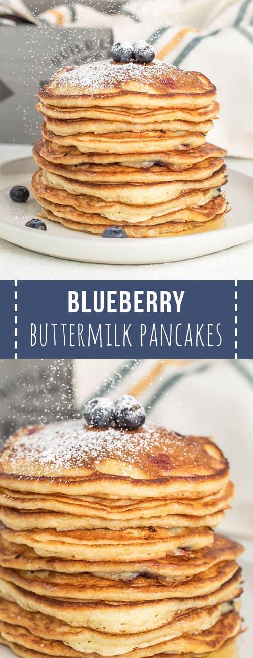 Pinterest pin of blueberry buttermilk pancakes