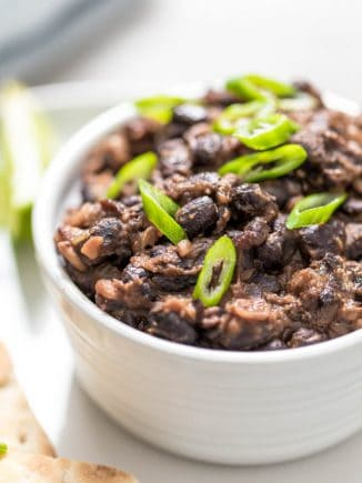 cooked black beans in a serving bowl