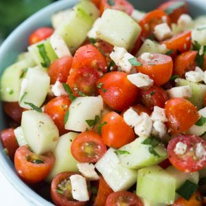 Cucumber and tomato salad with feta and simple vinaigrette