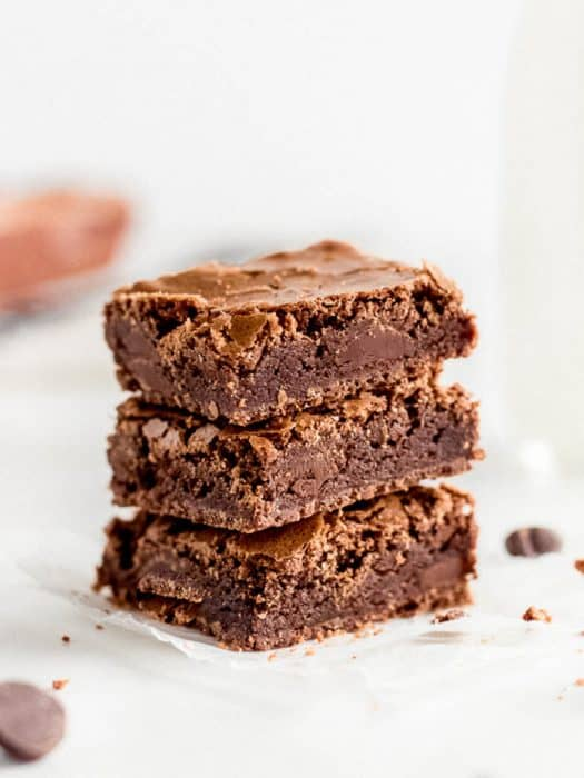 stack of three chewy brownies
