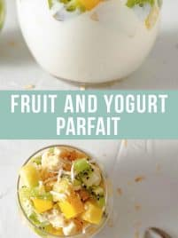 greek yogurt in a clear glass jar with chopped pineapple, kiwi, mango and bananas on top and toasted coconut