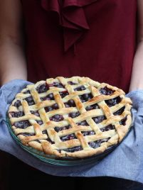 Homemade whole blueberry pie