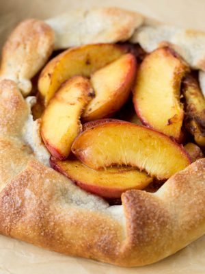Baked peaches in a simple homemade crust.