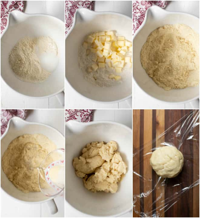 adding water into dry ingredients to mix a simple pie crust