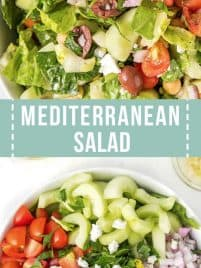 a large white bowl with chopped cucumbers, red onion, tomatoes, olives, chickpeas and feta