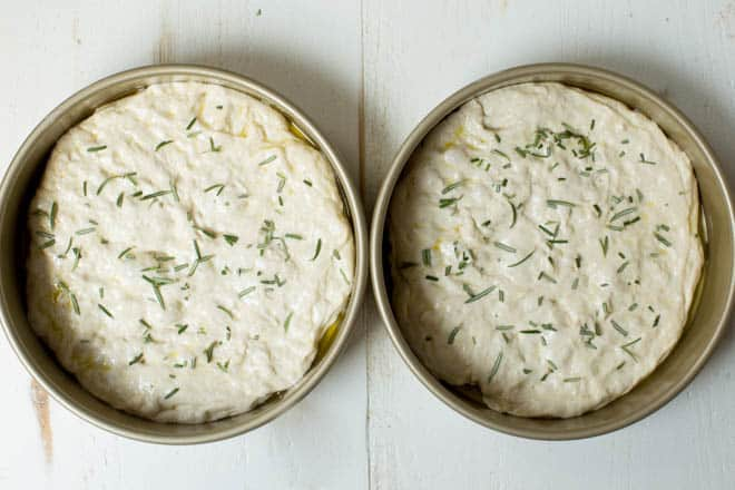 bread dough sprinkled with fresh rosemary