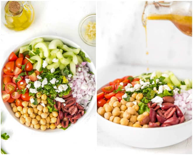 a large white bowl filled with chopped tomatoes, cucumbers, red onion, olives, chickpeas, parsley and feta cheese