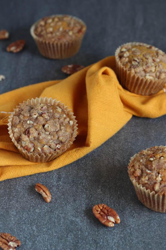 Pumpkin Muffins with Brown Sugar Pecan Streusel
