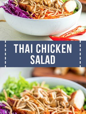 Pour peanut dressing into thai chicken salad.