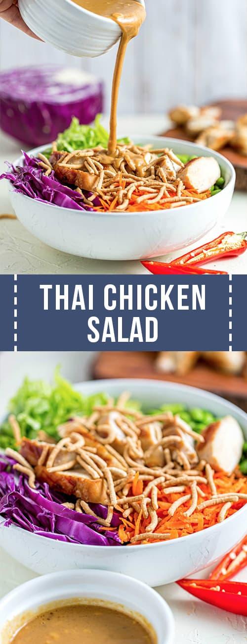 Pour peanut dressing into thai chicken salad.