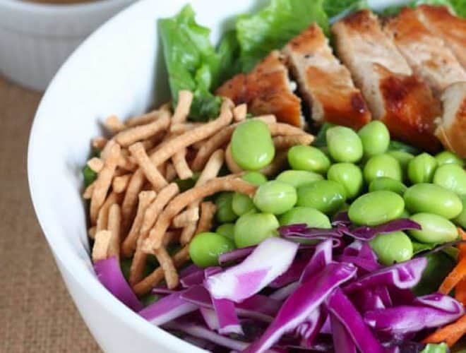 A bowl of thai chicken salad with a side of peanut dressing off to the side.