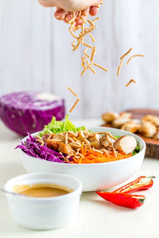 Sprinkle wonton crisps over thai chicken salad.