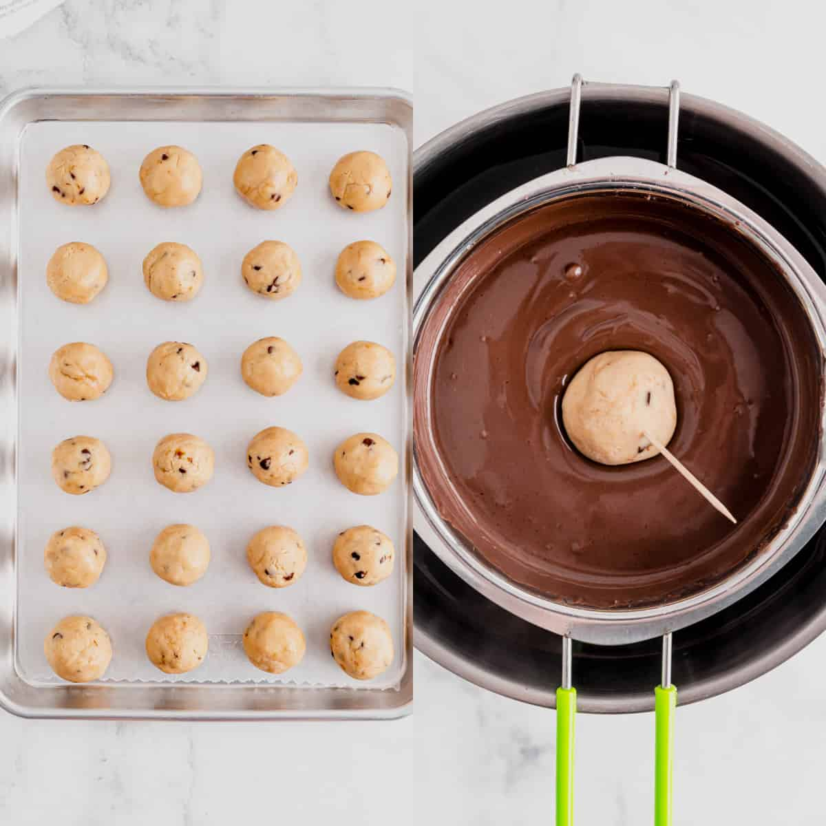 truffles rolled into balls on a baking sheet and then dipped into chocolate