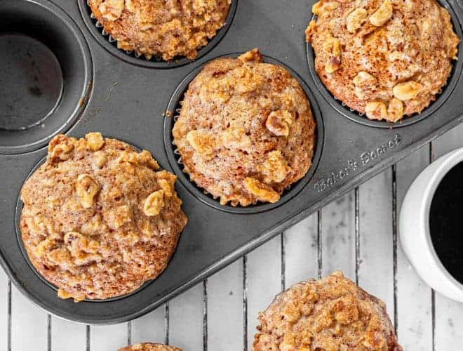 Pumpkin muffins in a baking pan.