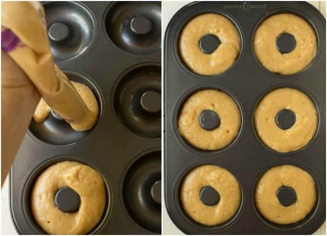 filling donut pan to make baked apple cider donuts