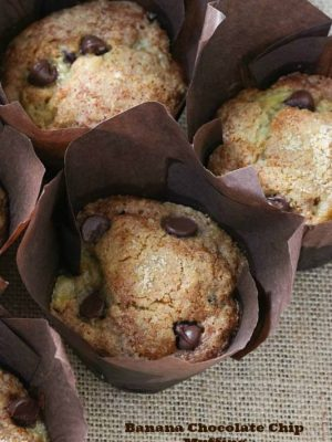 three banana chocolate chip muffins
