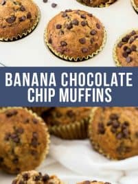 baked banana chocolate chip muffins sitting in a muffin pan