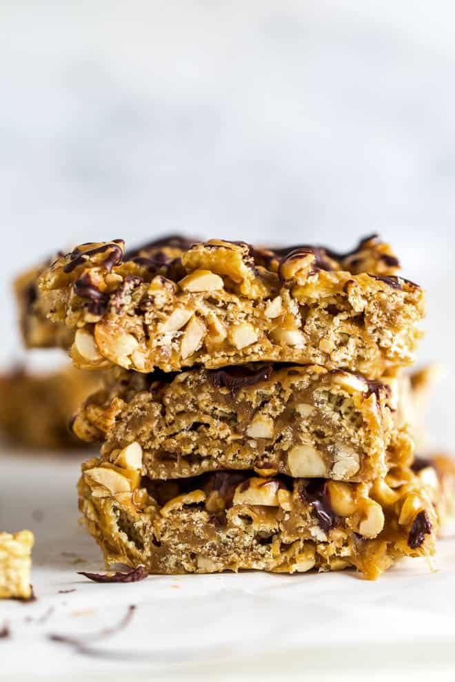 Stack of three peanut butter chocolate cereal bars.