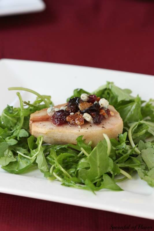 Roasted Pears with Cranberries, Blue