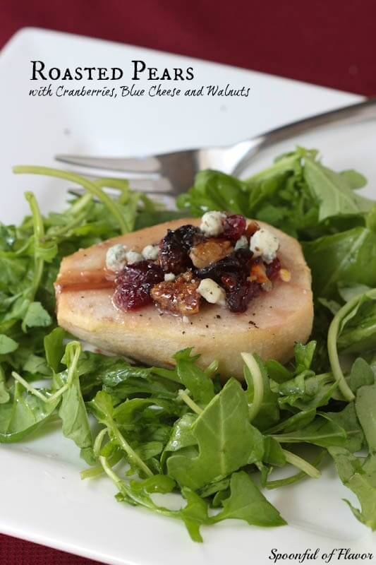 Roasted Pears with Cranberries, Blue Cheese and Walnuts
