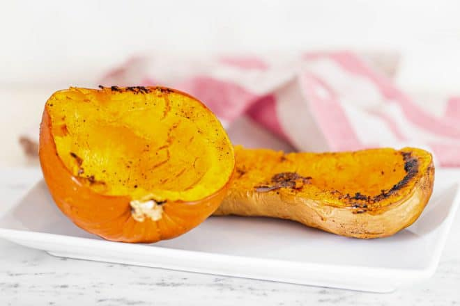 roasted butternut squash and pumpkin on a plate.