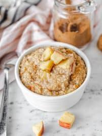 bowl of apple cinnamon steel cut oatmeal