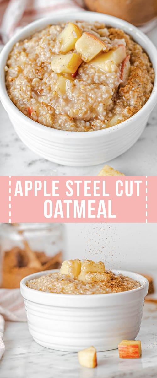 apple steel cut oatmeal in a bowl