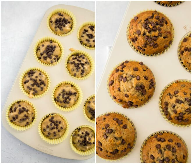 raw banana chocolate chip muffin batter in muffin pan and then baked in the oven