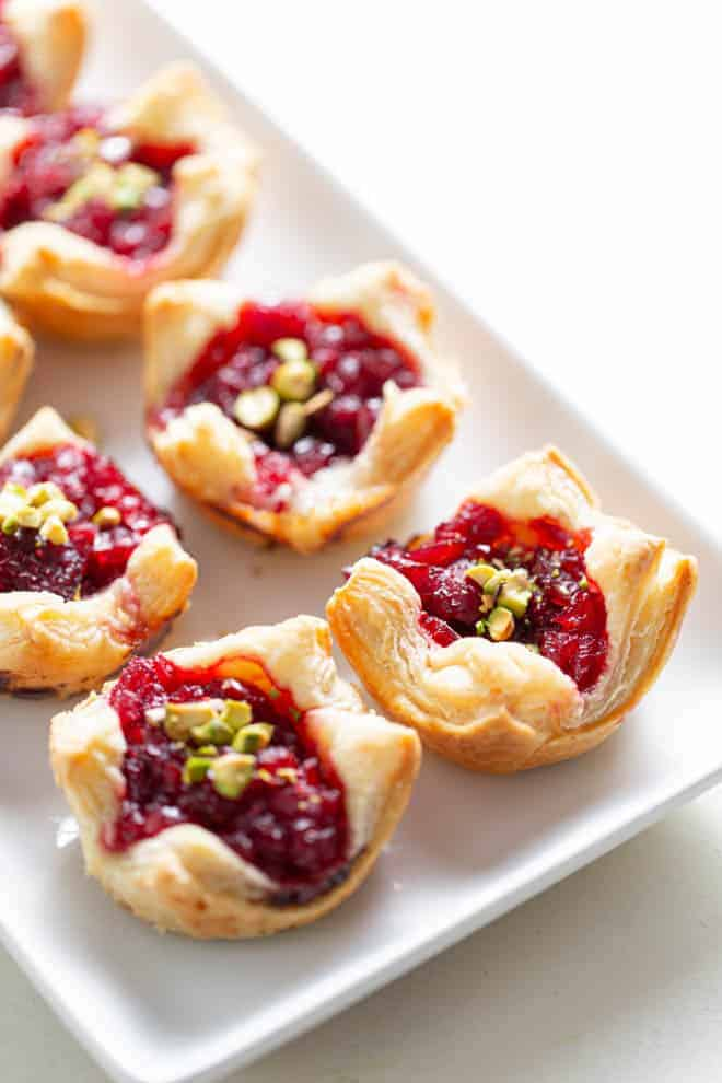 puff pastry appetizer with cranberry