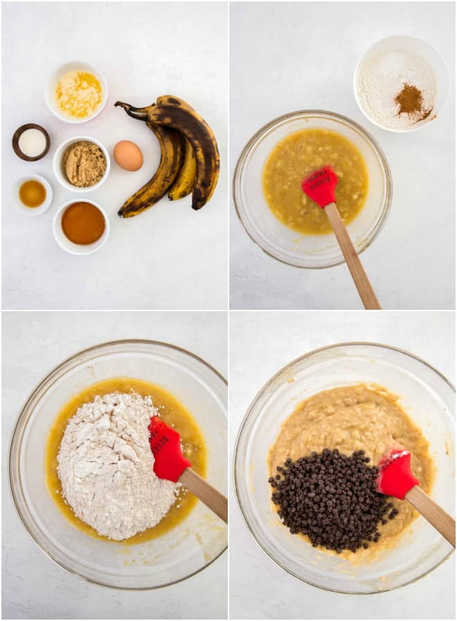 mixing banana, eggs and other wet ingredients in a bowl with flour and dry ingredients to make banana muffins