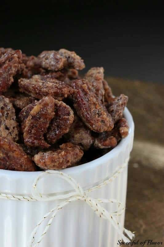A large bowl of candied pecans.