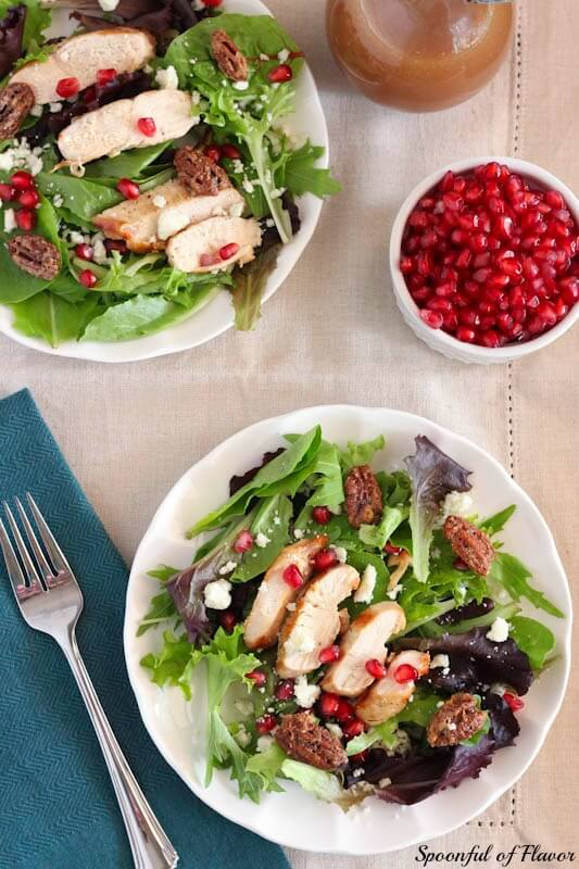 Grilled Chicken Salad with Blue Cheese, Candied Pecans and Pomegranate Vinaigrette ~ Spoonful of Flavor