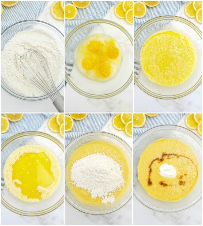mixing ingredients for lemon loaf in a glass bowl