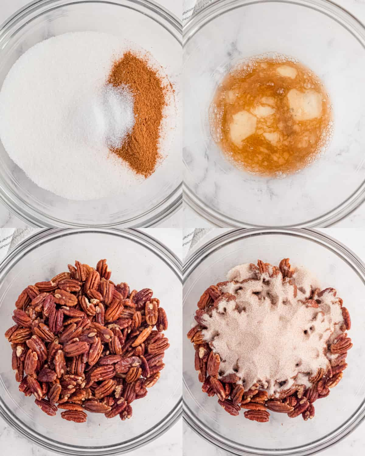 mixing ingredients for candied pecans in a bowl