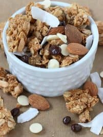 Granola Trail mix combines a few simple ingredients to create a snack that you can pack for on-the-go or enjoy any day of the week!