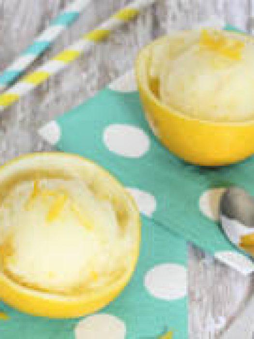 Meyer Lemon Sorbet - a refreshing treat full of intense lemon flavor!