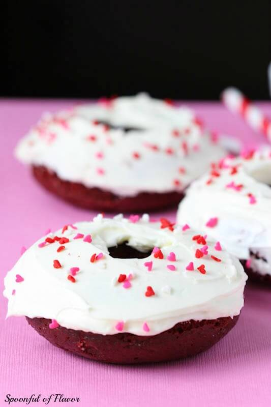 Baked Red Velvet Donuts with Cream Cheese Frosting ~ the perfect excuse to indulge a little for breakfast!
