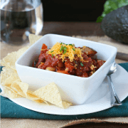 Three Bean Vegetarian Chili - hearty, healthy and full of vegetables!