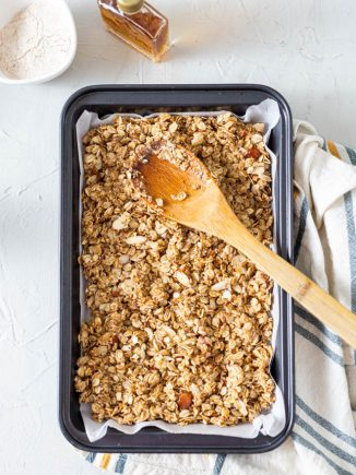 baked granola in a pan