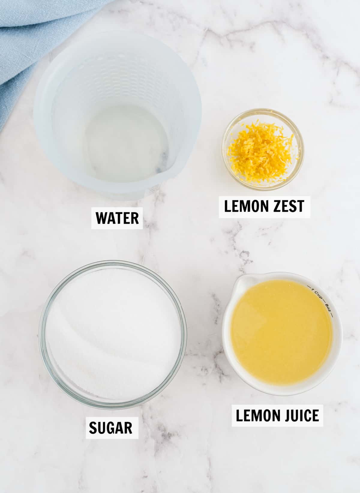 all of the ingredients for meyer lemon sorbet