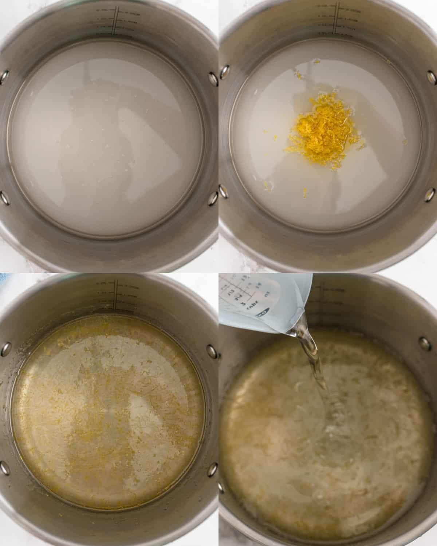 mixing together ingredients for lemon sorbet