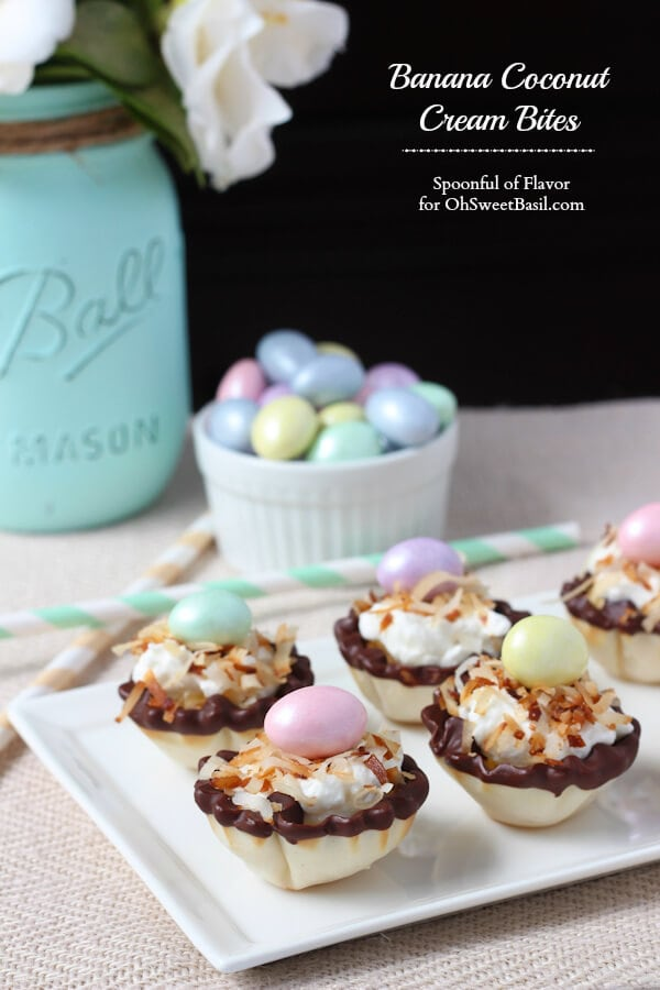 Banana Coconut Cream Bites - the simple flavors of the banana, coconut and whipped cream combine to create an impressive little dessert!