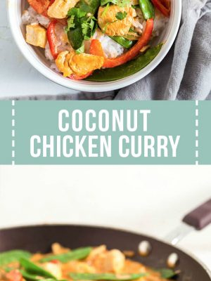 A large bowl of coconut chicken curry.