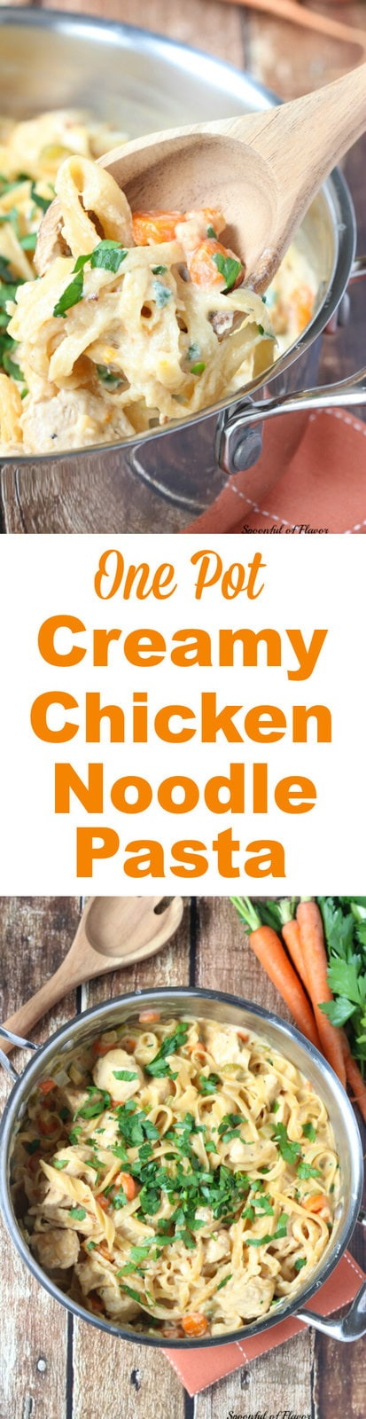 One Pot Creamy Chicken Noodle Pasta is filled with chicken, veggies and creamy sauce! It only uses one pot!