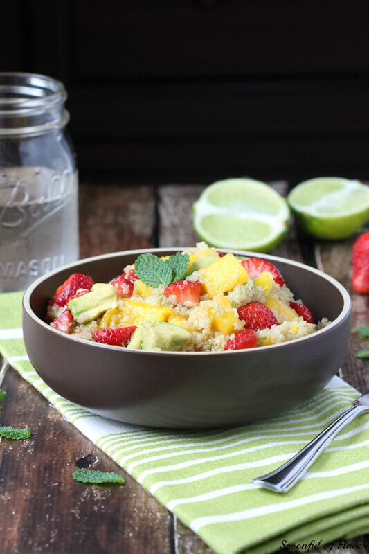 Strawberry, Mango and Avocado Quinoa Salad ~ healthy, easy and delicious!