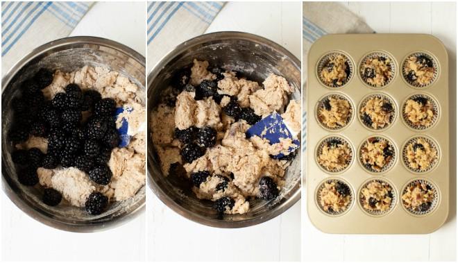 blackberries on top of muffin batter