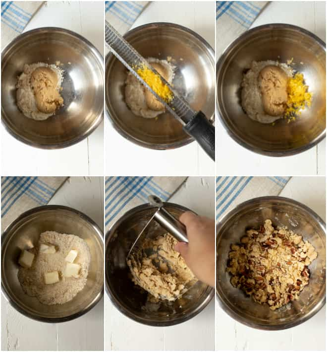 adding ingredients including sugar, butter, flour and lemon zest to a steel bowl to make crumble muffin topping