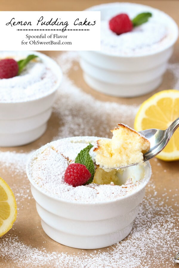 Lemon Pudding Cakes - a light delicate layer of cake sits on top of a layer of pudding!